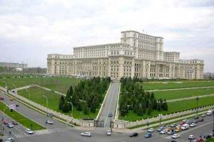 The massive Palace of Parliament and Unirii Boulevard