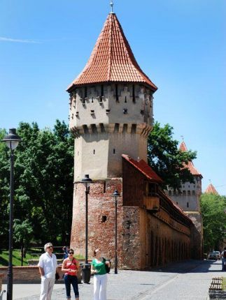 The former fortification walls and towers in Sibiu