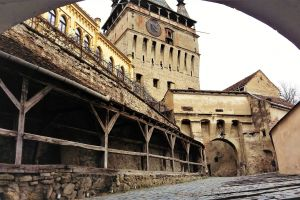 The clock tower and the main entrance into Sighisoara citadel