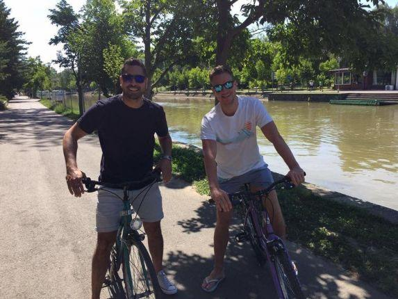 Tourists from England enjoying cycle near Bega canal
