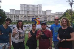 In front of the Palace of Parliament, Ceausescu's masterpiece