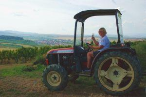 Wine tasting in the tractor