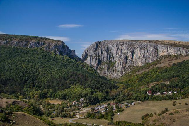 view of the Turda Gorge and cliffs, the parking lot at the base