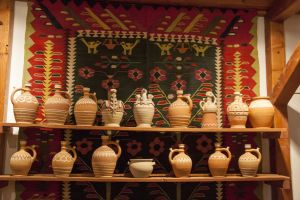 Traditional pottery and rugs